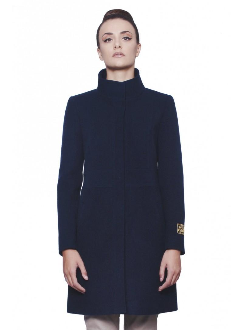 Cappotto donna lungo in lana e cashmere con collo alla Coreana d3f4ef710d9