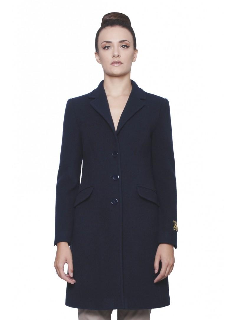 best service b3426 70e1a Cappotto Donna Blu Lana & Cashmere Collo Classico CSS 20157