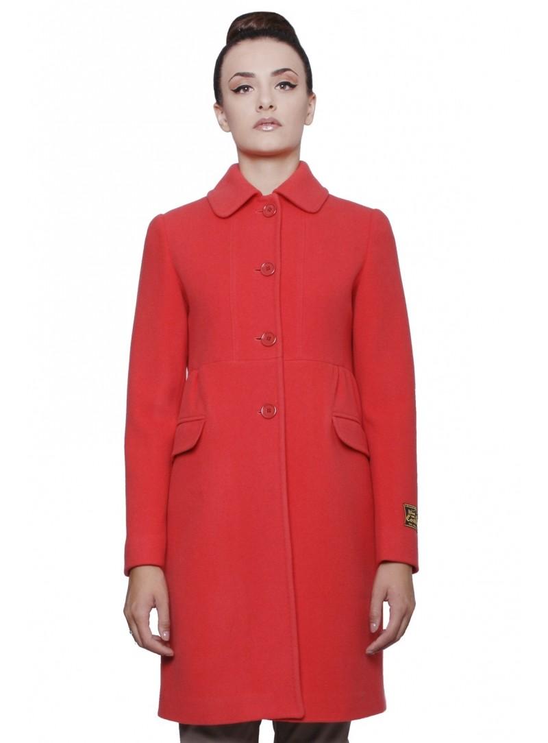 Abrigo de lana y cachemira de coral rojo mujer con rizo CSS 20155