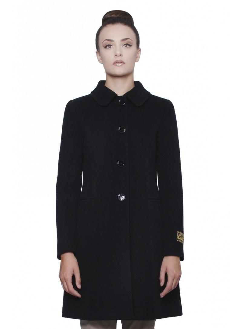 reputable site a4c96 b2550 Cappotto Donna Nero Lana & Cashmere con Martingala CSS 20164