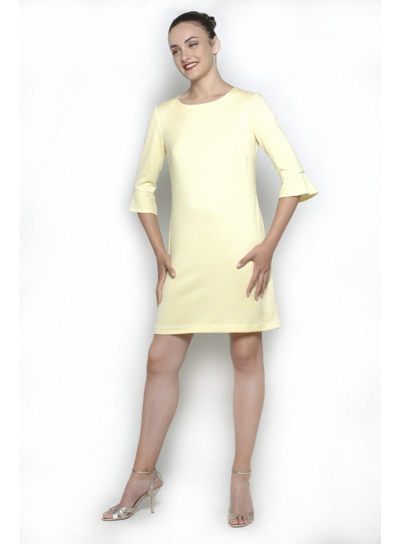 Abrigo Mujer Amarillo Ocra Lana & Cashmere con rizo CSS 20155